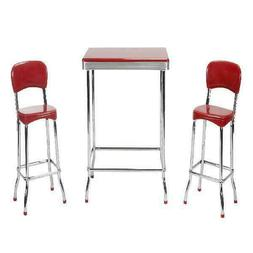Cosco 14223RED1E Red Retro Chrome 3pc High Top Set, Red
