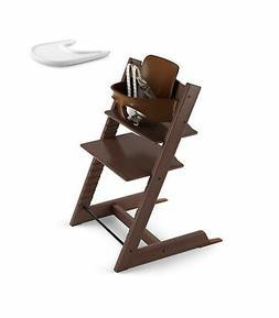 Stokke 2019 Tripp Trapp Walnut Brown High Chair & White Tray