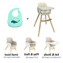 3 in 1 Convertible Feeding Wooden High Chair Baby Toddlers W