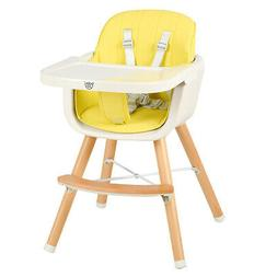 3-in-1 Convertible Wooden High Chair Baby Toddler Highchair