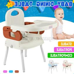 3-In-1 Foldable Baby High Chair, Safe Feeding Highchair Adju