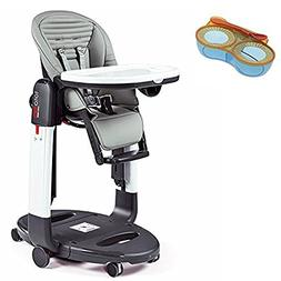 Peg-Perego Tatamia High Chair, Stripes Grey With Divided Fee