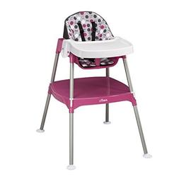 Plastic Durable Convertible 3-in-1 High Chair, Pink Dottie