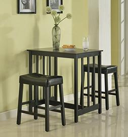 Roundhill Furniture 3-Piece Counter Height Dining Set with S