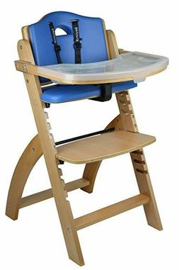 Abiie Beyond Wooden High Chair With Tray Natural Wood Blue C