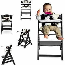 Adjustable Height Wooden Baby High Chair With Removeable Tra