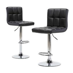 Adjustable Modern Swivel Bar Stools - Counter Height PU Leat