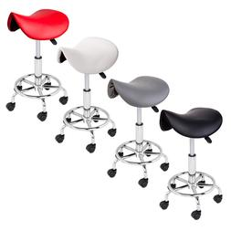 Adjustable Salon Stool Hydraulic Saddle Rolling Chair Tattoo