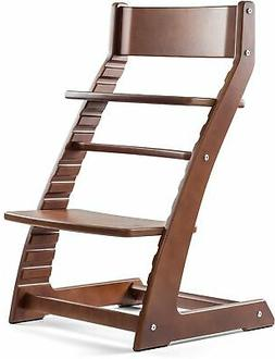 Heartwood Adjustable Wooden High Chair Dark Walnut Color for