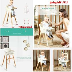 Adjustable Wooden High Chair Baby Highchairs w/ Tray for Bab