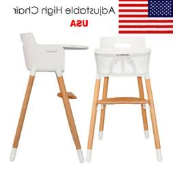 Adjustable Wooden High Chair Feeding Solution Baby Highchair