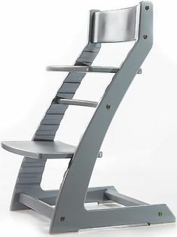 HeartWood Adjustable Wooden High Chair Grey Color for Babies