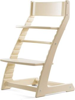 Heartwood Adjustable Wooden High Chair Ivory Color for Babie