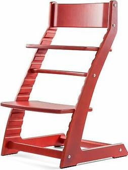 Heartwood Adjustable Wooden High Chair Red Color for Babies