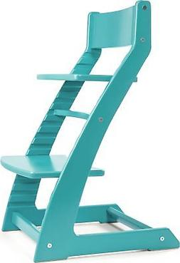 Heartwood Adjustable Wooden High Chair Turquoise/Teal Color