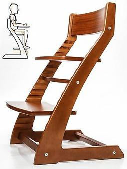 HeartWood Adjustable Wooden High Chair Walnut Color for Babi