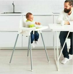 ANTILOP High chair with tray, silver color white, silver col