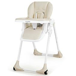 Baby Foldable Convertible High Chair w/Wheels Adjustable Hei