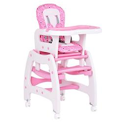 Costzon Baby High Chair, 3 in 1 Convertible Play Table Set,