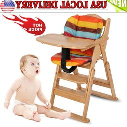 Baby High Chair Natural Beech Infant Toddler Feeding Highcha