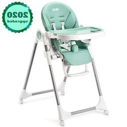 HEAO Baby High Chair with 4 Wheels Height Reclining Footrest