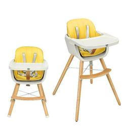 Baby joy Wooden High Chair Baby Toddler 3 in 1 Convertible H