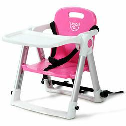 Baby Seat Booster Folding High Chair W/ Safety Belt & Tray D