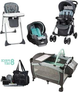 Baby Stroller Travel System Set High Chair Deluxe Playard 8