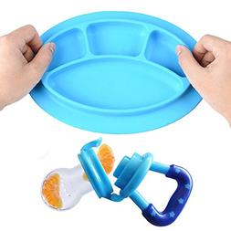 Baby Suction Silicone Plate For Kid,Tray + Fruit Feeder Wash