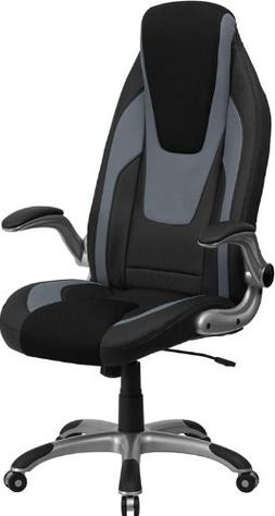 High Back Black & Gray Vinyl Executive Office Chair with Bla