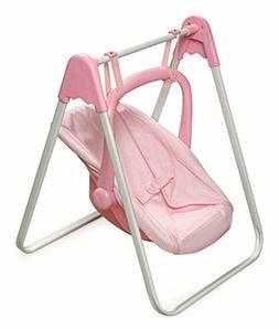 Badger Basket Doll Swing and Carrier - Pink Gingham