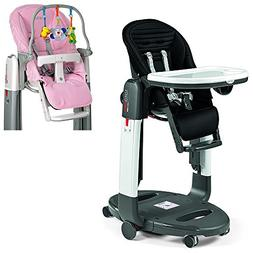 Peg Perego Black Stripes Tatamia High Chair with Kit, Rosa