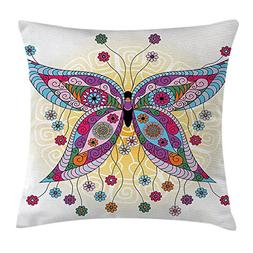 QS3F2S2D1G Butterfly Throw Pillow Cushion Cover, Ethnic Moth
