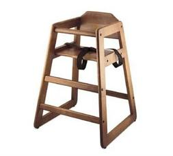 Baby High Chair 27-1/4'' high walnut wood finish wide stance