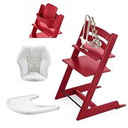Stokke High Chair, Red Bundle With Mini Baby Cushion, Soft S
