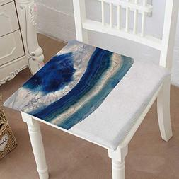 Mikihome Chair Pads Squared Seat Blue Agate Slice Stone with