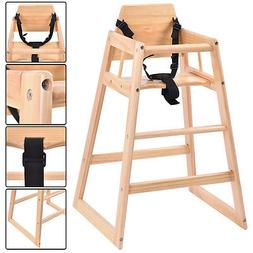 Costzon Baby High Chair Wooden Stool Infant Feeding Children