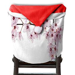 LoveBea Christmas Hat Chair Covers Sakura Blossom Chairs Bac