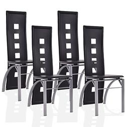 Giantex 4 Pcs Dining Chairs PU Leather Steel Frame High Back