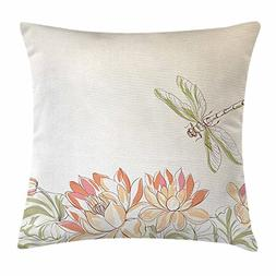 QS3F2S2D1G Dragonfly Throw Pillow Cushion Cover by, Lotus Fl