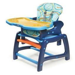 Envee Baby High Chair with Playtable Conversion - Blue/Orang
