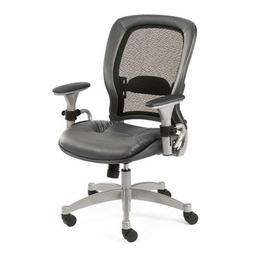 Ergonomic Chair with Gray Leather Seat and Mesh Back - NBF S