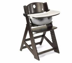 KEEKAROO ESPRESSO HEIGHT RIGHT WOODEN HIGH CHAIR & GREY BABY