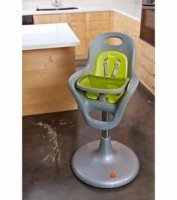 Boon Flair Pneumatic Pedestal High Chair Grey Green baby tod