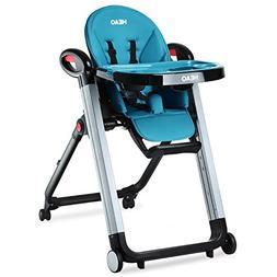 HEAO Foldable High Chair Reclining Height Adjustable 4 Wheel
