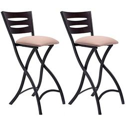 New Set of 2 Folding Bar Stools Counter Height Bistro Dining