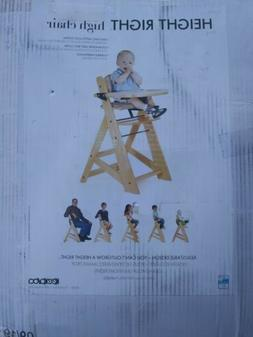 height right adjustable high chair natural wood