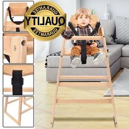 Home Baby Kids High Wooden Chair Toddler Highchair Feeding S