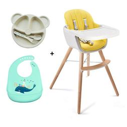 Wooden Feeding High Chair 3in1 Convertible Cushion Simple sw