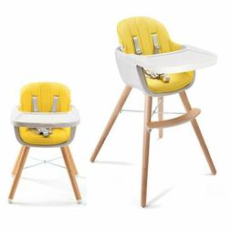 Infant Wooden High Chair 3 in 1 Convertible &Cushion Adjusta